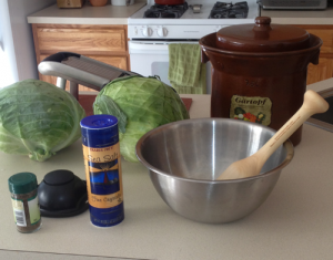 Tools and Ingredients for making sauerkraut