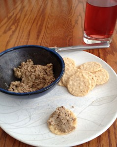 Chopped duck liver and Gluten Free Crackers