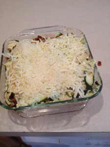 Fully Layered Lasagne, ready for the oven