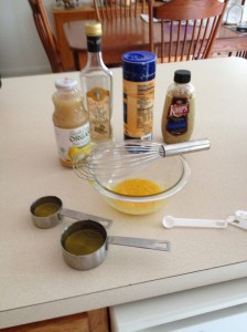 Ingredients for mayonnaise and all but oil combined in bowl