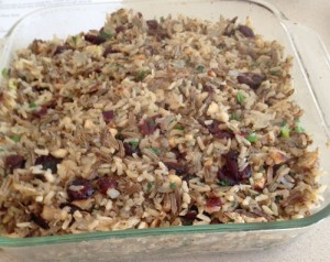 Casserole of Wild Rice with Hazelnuts and cranberries